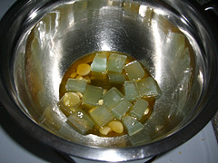 Melting the cocoa butter and glycerinsoap